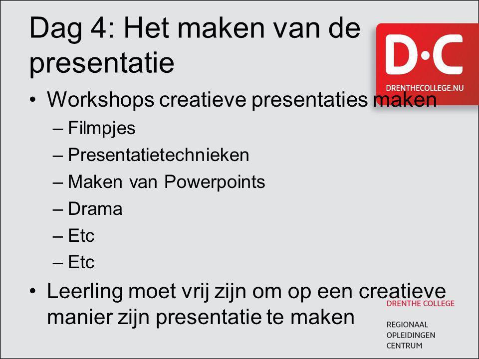 Dag 4: Het maken van de presentatie