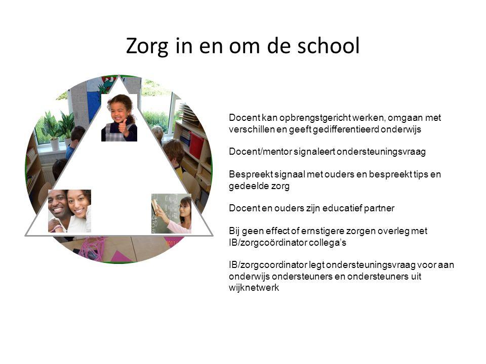 Zorg in en om de school Docent kan opbrengstgericht werken, omgaan met verschillen en geeft gedifferentieerd onderwijs.
