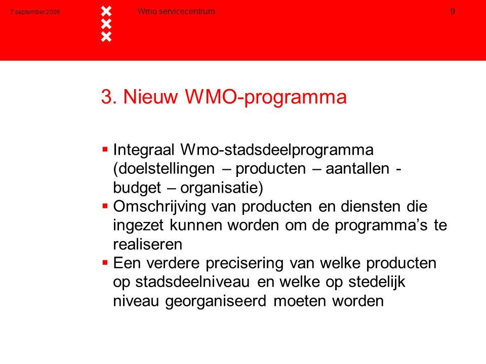 7 september 2006 Wmo servicecentrum. 3. Nieuw WMO-programma.
