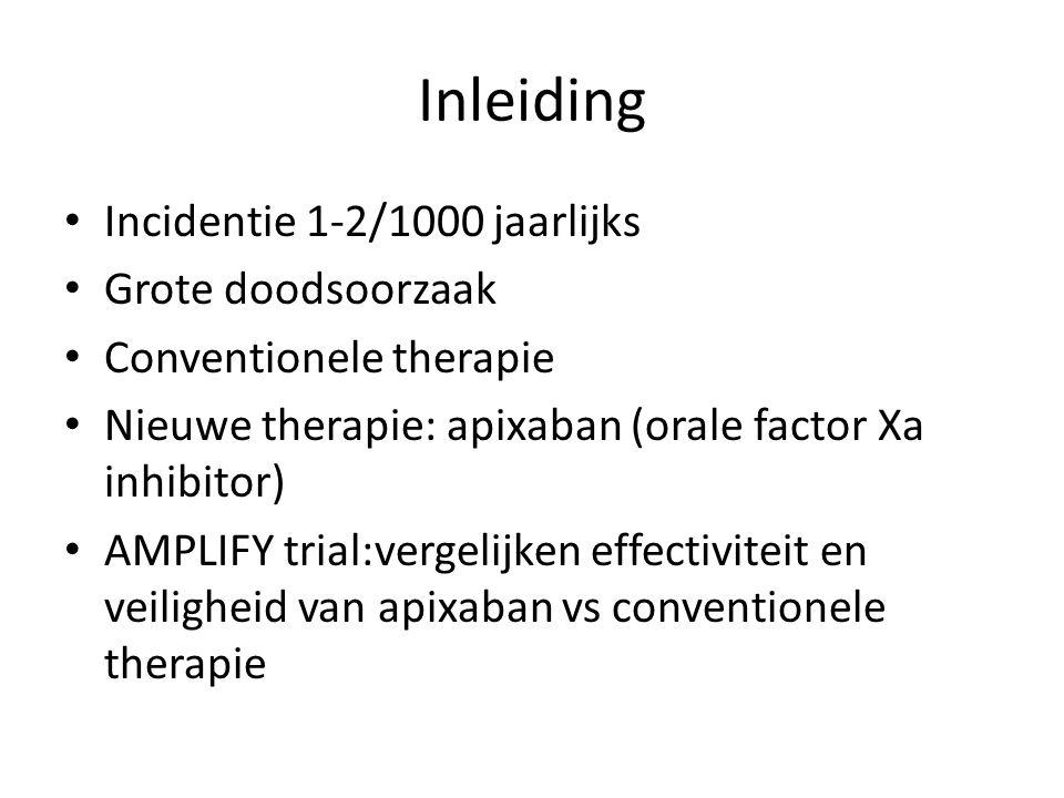 Inleiding Incidentie 1-2/1000 jaarlijks Grote doodsoorzaak