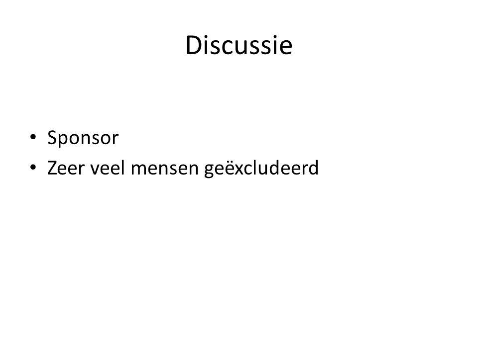 Discussie Sponsor Zeer veel mensen geëxcludeerd