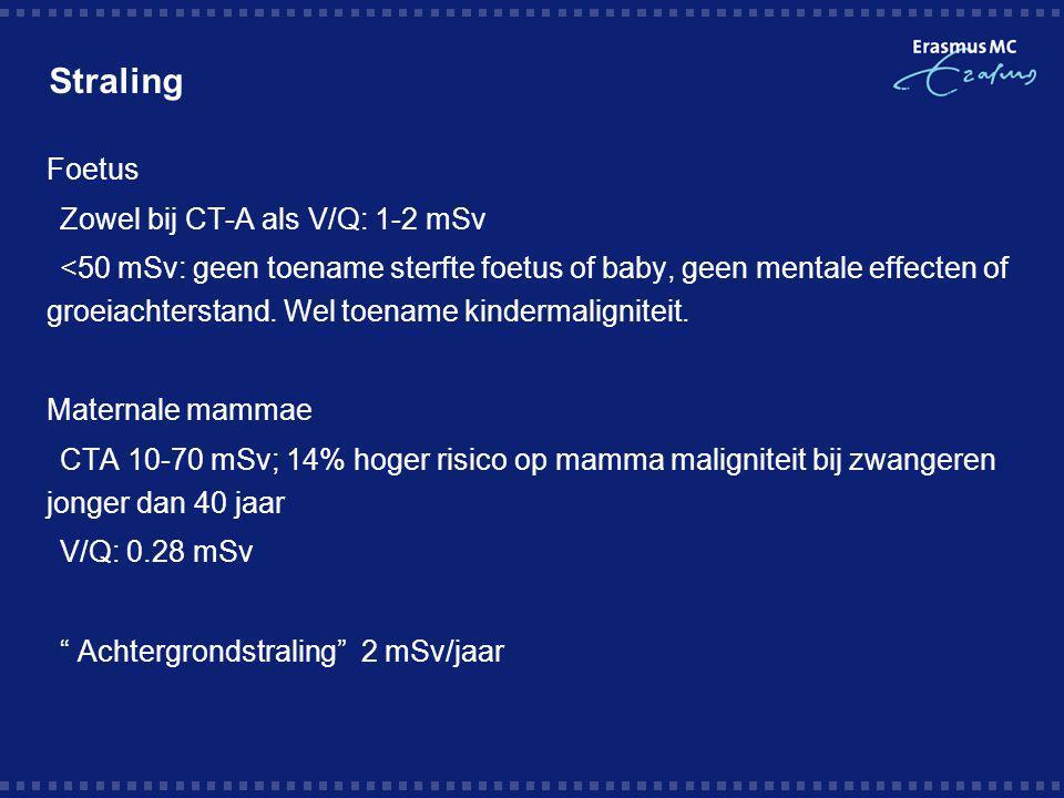 Straling Foetus Zowel bij CT-A als V/Q: 1-2 mSv