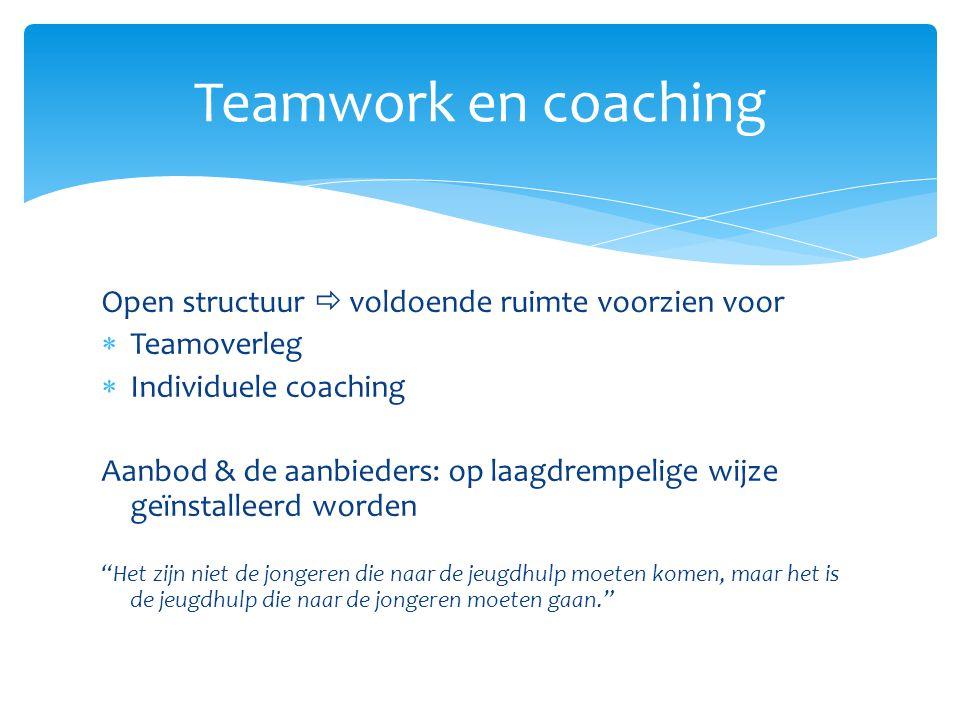 Teamwork en coaching Open structuur  voldoende ruimte voorzien voor
