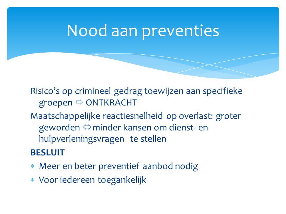 Nood aan preventies Risico's op crimineel gedrag toewijzen aan specifieke groepen  ONTKRACHT.