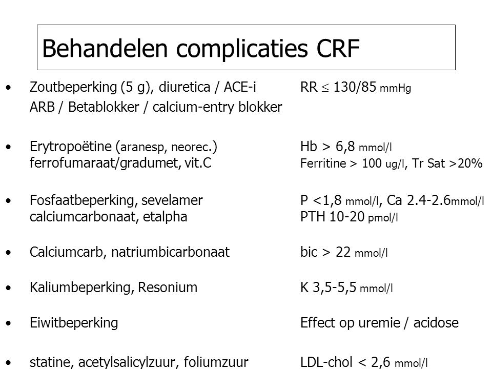 Behandelen complicaties CRF