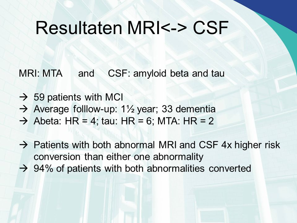 Resultaten MRI<-> CSF