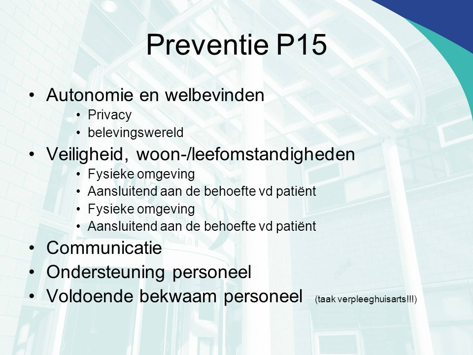 Preventie P15 Autonomie en welbevinden