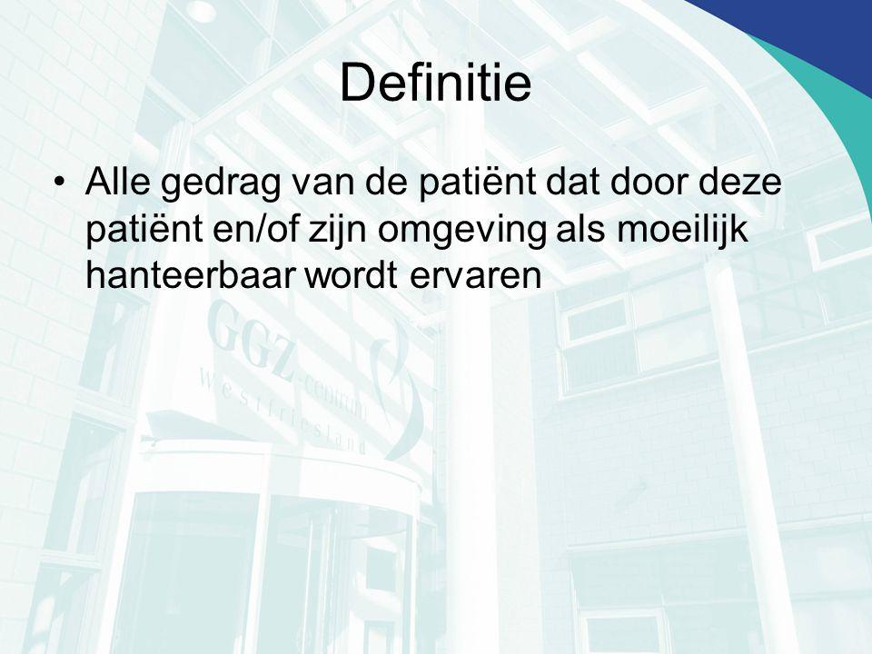 Definitie Alle gedrag van de patiënt dat door deze patiënt en/of zijn omgeving als moeilijk hanteerbaar wordt ervaren.