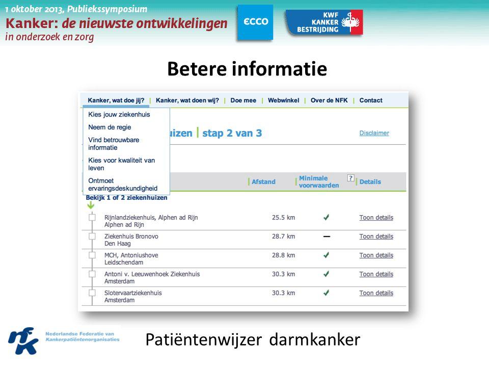 Betere informatie Patiëntenwijzer darmkanker