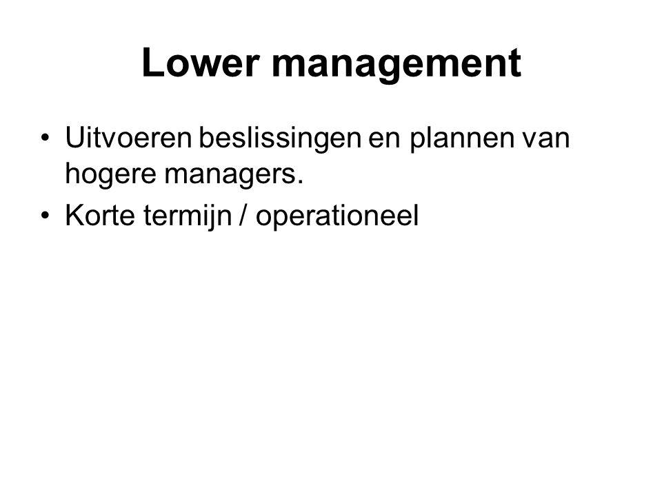 Lower management Uitvoeren beslissingen en plannen van hogere managers.
