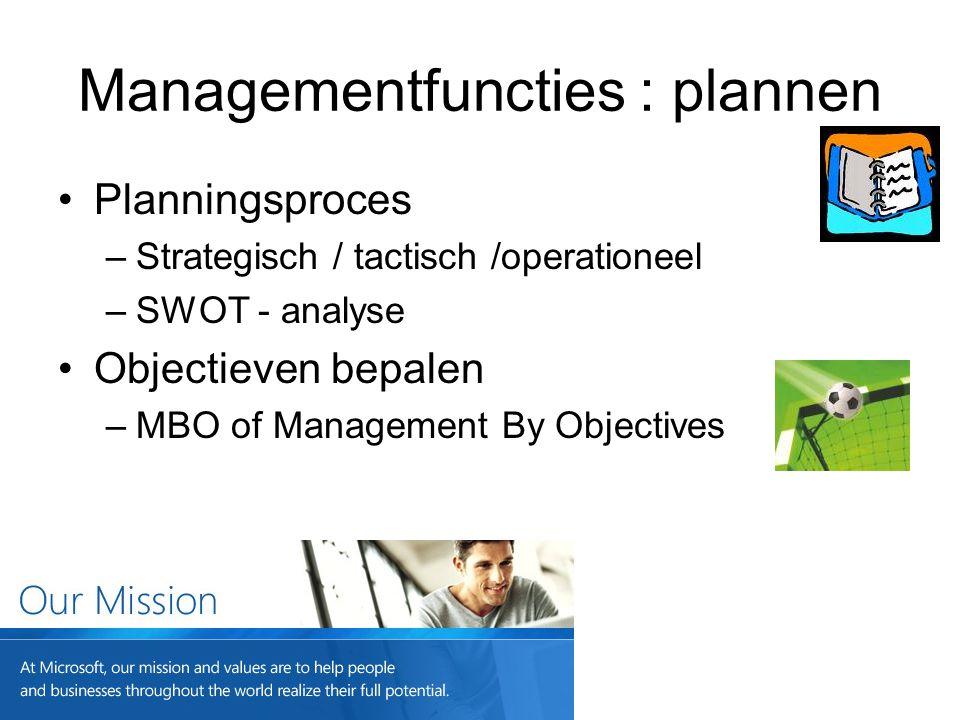 Managementfuncties : plannen