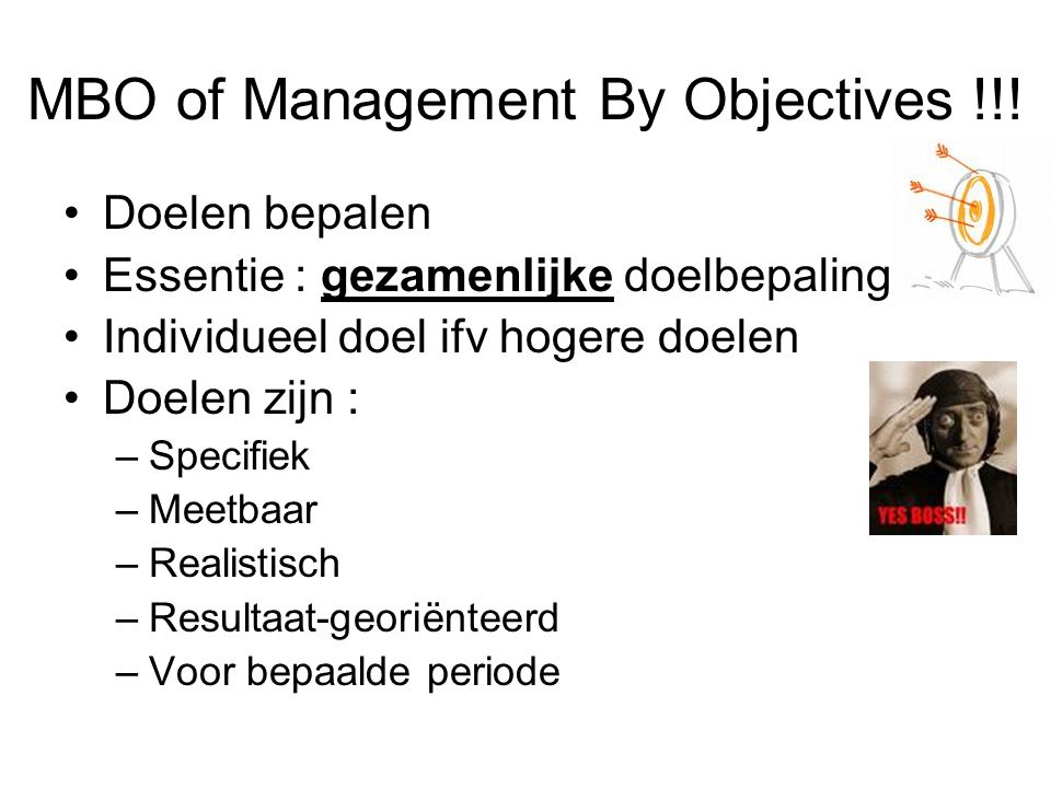 MBO of Management By Objectives !!!
