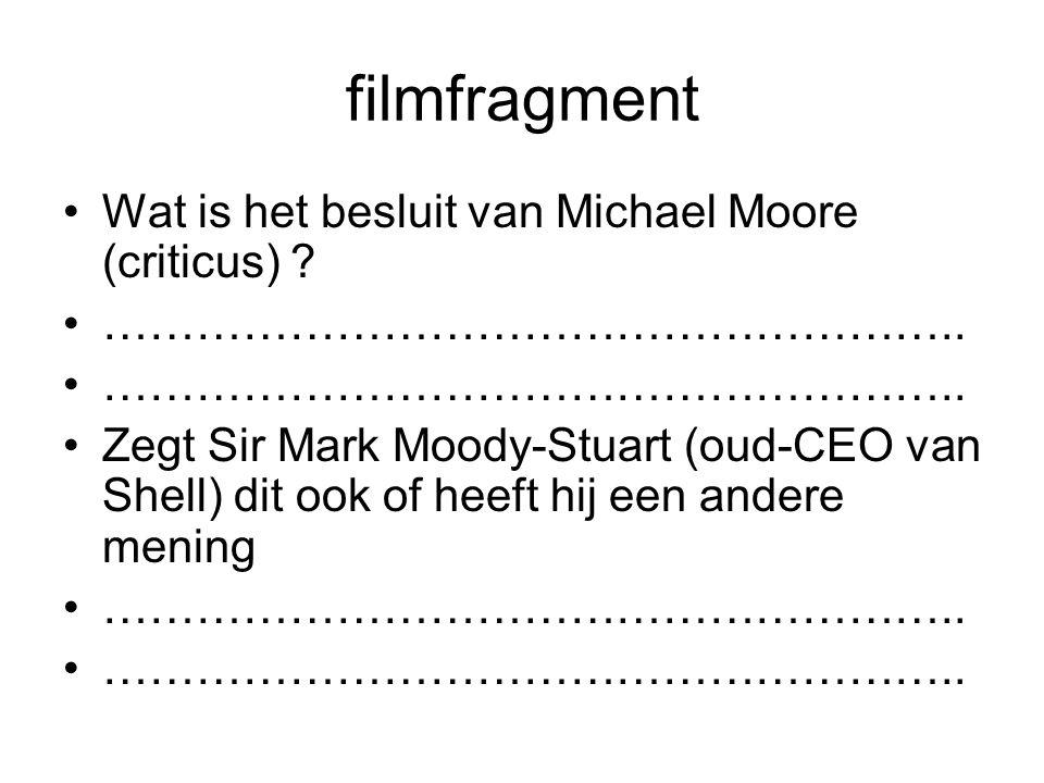 filmfragment Wat is het besluit van Michael Moore (criticus)