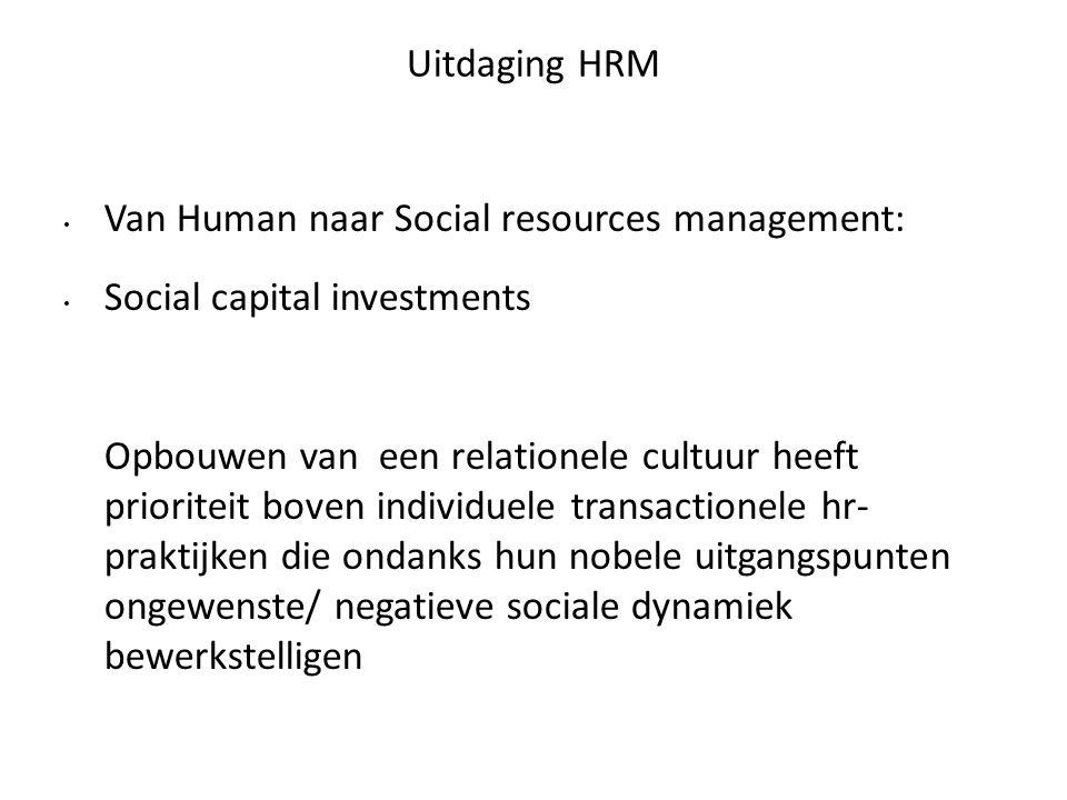 Uitdaging HRM Van Human naar Social resources management: Social capital investments.