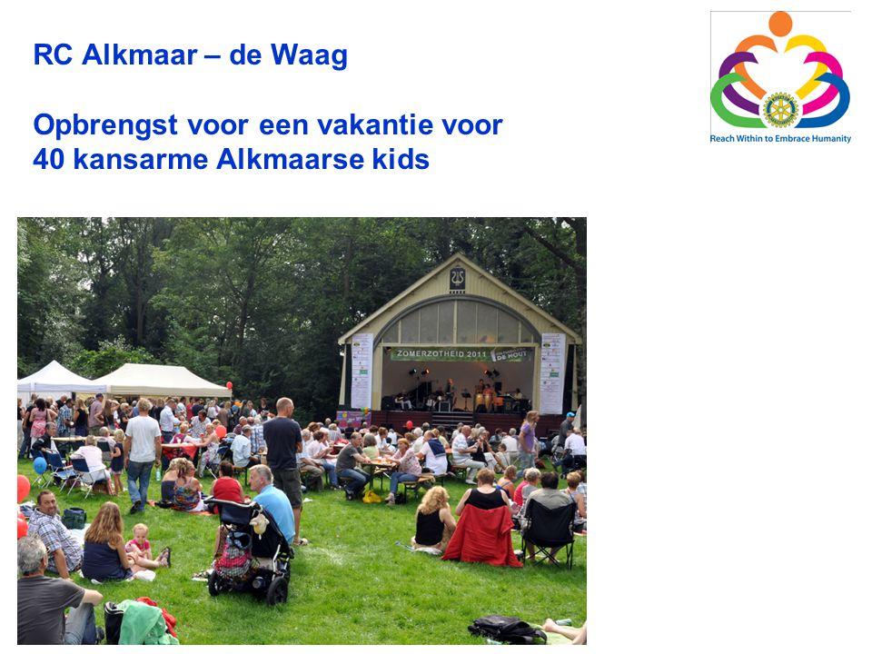 RC Alkmaar – de Waag Opbrengst voor een vakantie voor 40 kansarme Alkmaarse kids