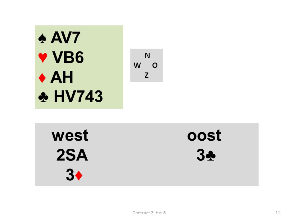 ♠ AV7 ♥ VB6 ♦ AH ♣ HV743 N W O Z west oost 2SA 3♣ 3♦ Contract 2, hst 6