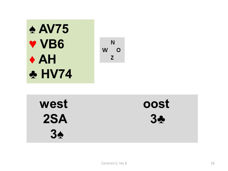 ♠ AV75 ♥ VB6 ♦ AH ♣ HV74 N W O Z west oost 2SA 3♣ 3♠ Contract 2, hst 6