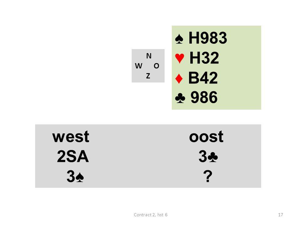 ♠ H983 ♥ H32 ♦ B42 ♣ 986 west oost 2SA 3♣ 3♠ N W O Z