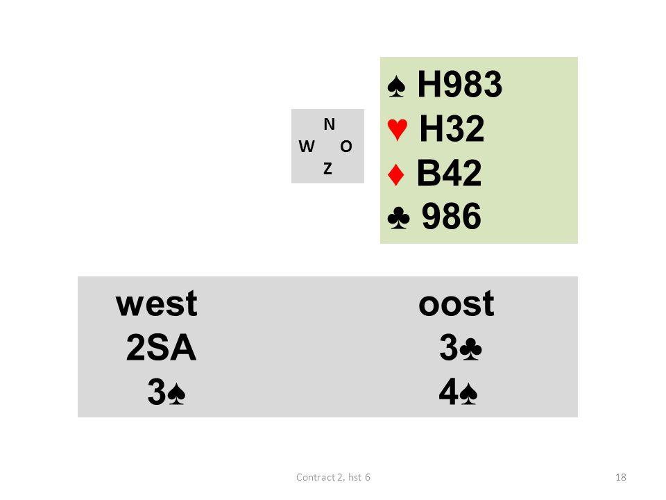 ♠ H983 ♥ H32 ♦ B42 ♣ 986 west oost 2SA 3♣ 3♠ 4♠ N W O Z