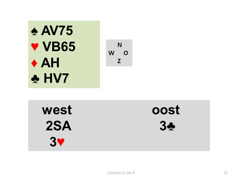 ♠ AV75 ♥ VB65 ♦ AH ♣ HV7 N W O Z west oost 2SA 3♣ 3♥ Contract 2, hst 6