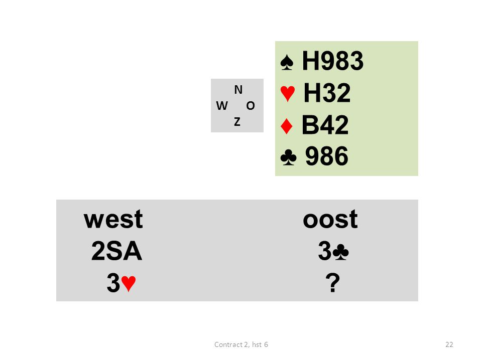 ♠ H983 ♥ H32 ♦ B42 ♣ 986 west oost 2SA 3♣ 3♥ N W O Z