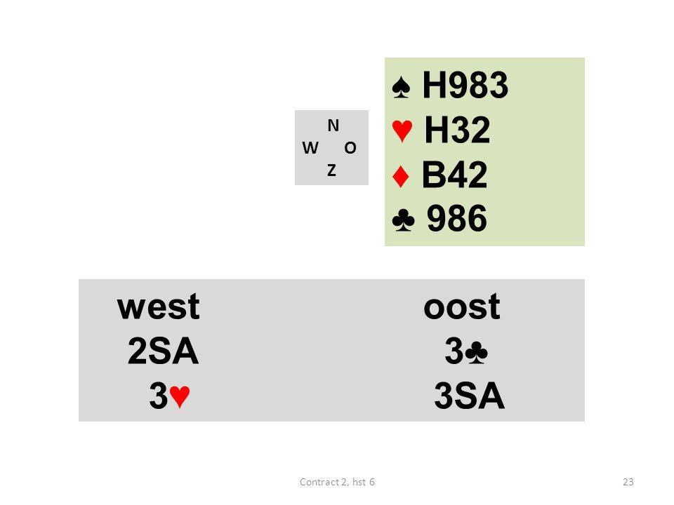 ♠ H983 ♥ H32 ♦ B42 ♣ 986 west oost 2SA 3♣ 3♥ 3SA N W O Z