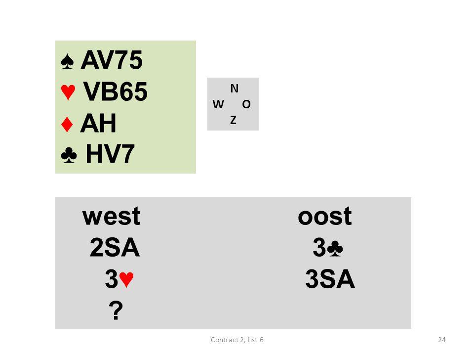 ♠ AV75 ♥ VB65 ♦ AH ♣ HV7 west oost 2SA 3♣ 3♥ 3SA N W O Z