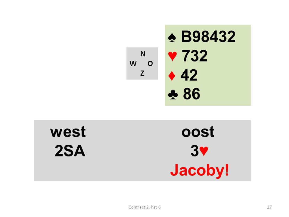 ♠ B98432 ♥ 732 ♦ 42 ♣ 86 west oost 2SA 3♥ Jacoby! N W O Z