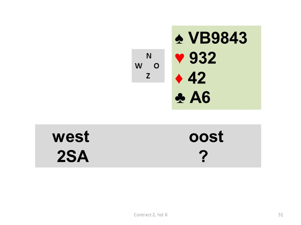 ♠ VB9843 ♥ 932 ♦ 42 ♣ A6 N W O Z west oost 2SA Contract 2, hst 6