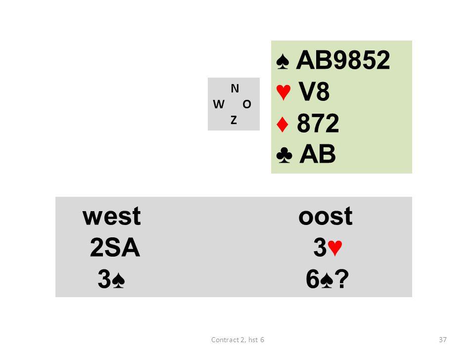 ♠ AB9852 ♥ V8 ♦ 872 ♣ AB west oost 2SA 3♥ 3♠ 6♠ N W O Z