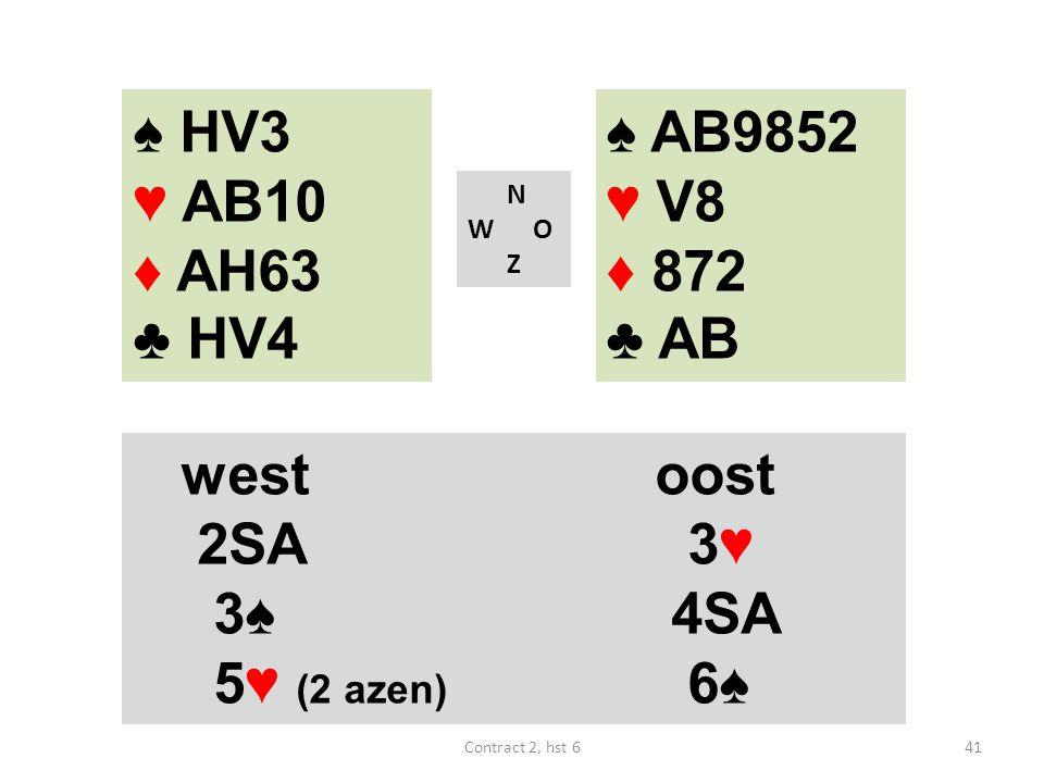 ♠ HV3 ♥ AB10 ♦ AH63 ♣ HV4 ♠ AB9852 ♥ V8 ♦ 872 ♣ AB west oost 2SA 3♥
