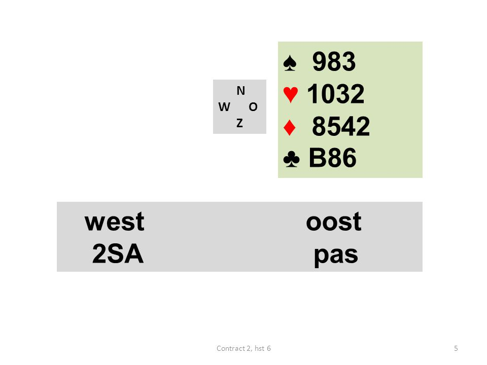 ♠ 983 ♥ 1032 ♦ 8542 ♣ B86 N W O Z west oost 2SA pas Contract 2, hst 6