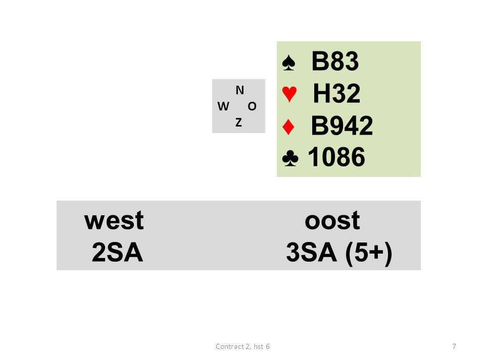 ♠ B83 ♥ H32 ♦ B942 ♣ 1086 west oost 2SA 3SA (5+) N W O Z