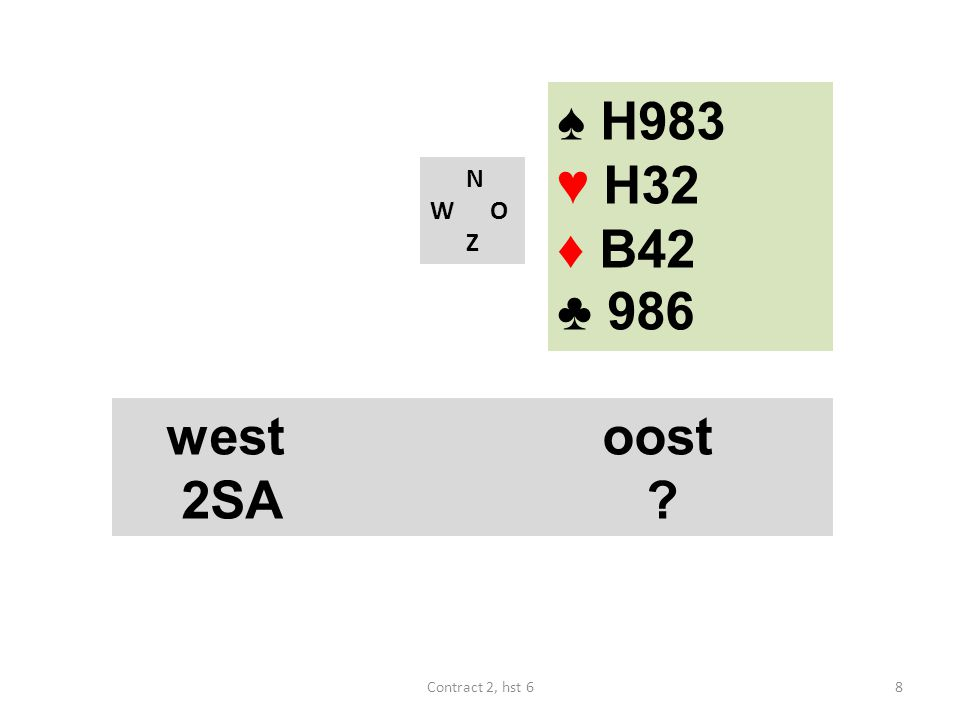 ♠ H983 ♥ H32 ♦ B42 ♣ 986 N W O Z west oost 2SA Contract 2, hst 6