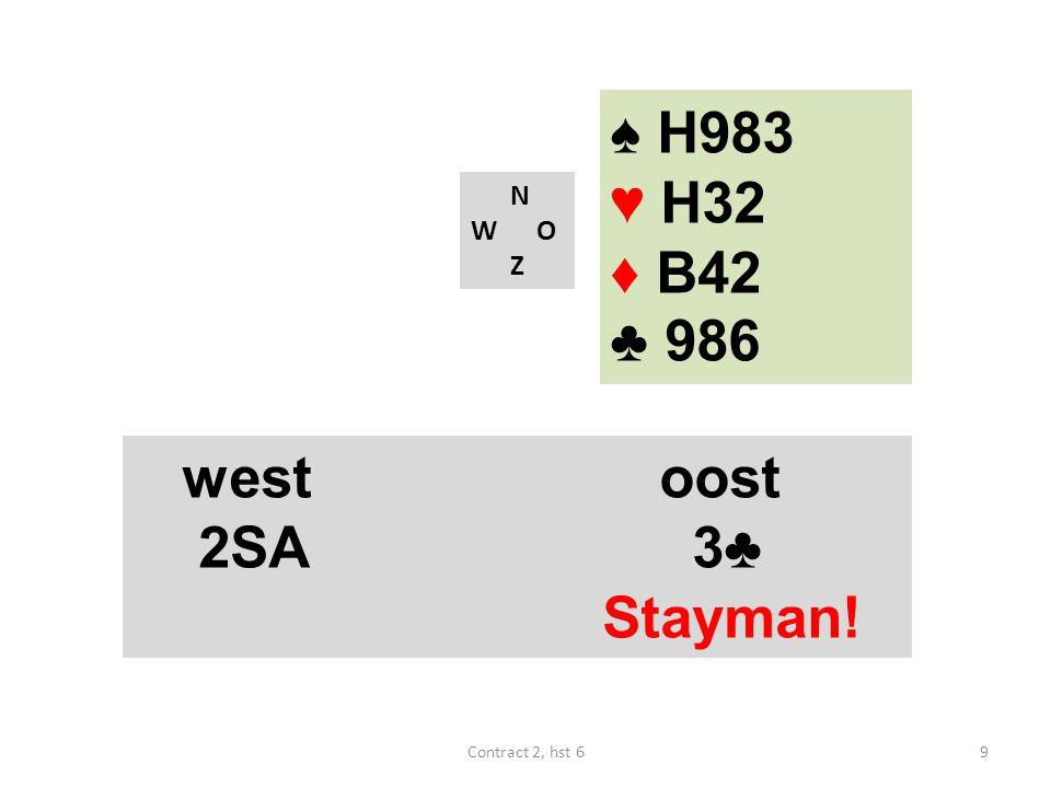 ♠ H983 ♥ H32 ♦ B42 ♣ 986 west oost 2SA 3♣ Stayman! N W O Z