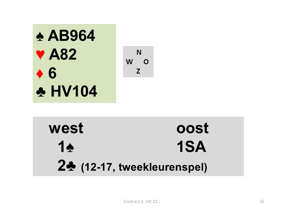 ♠ AB964 ♥ A82 ♦ 6 ♣ HV104 west oost 1♠ 1SA 2♣ (12-17, tweekleurenspel)