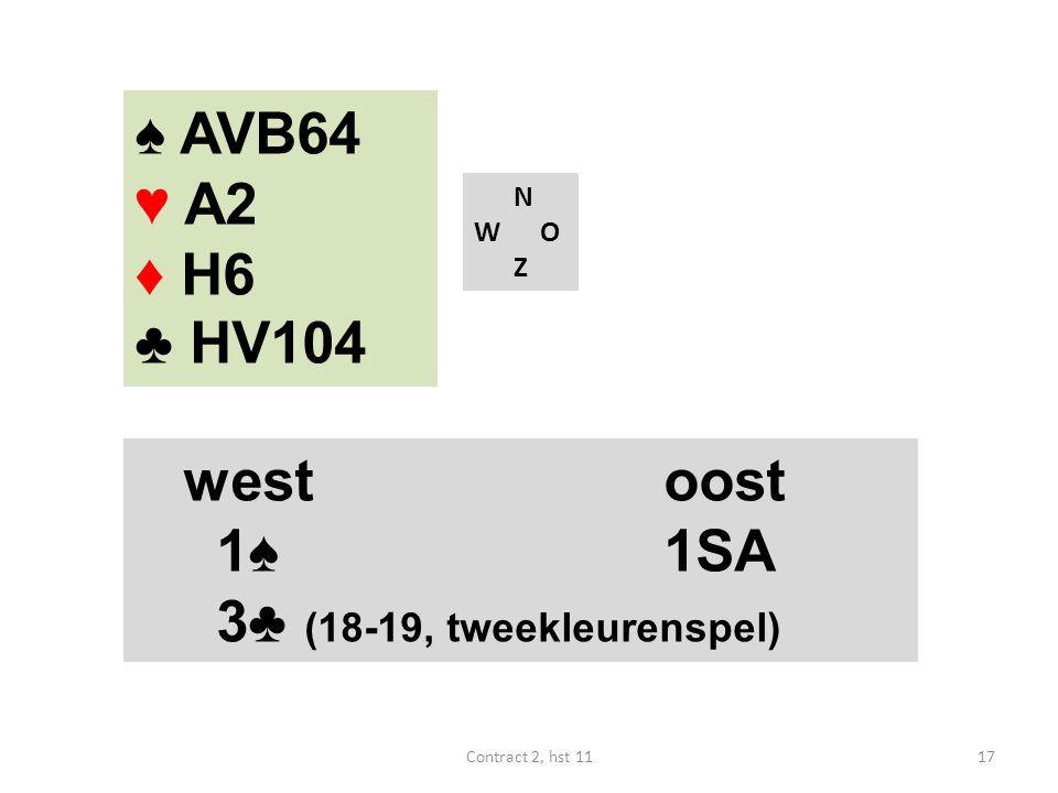♠ AVB64 ♥ A2 ♦ H6 ♣ HV104 west oost 1♠ 1SA 3♣ (18-19, tweekleurenspel)