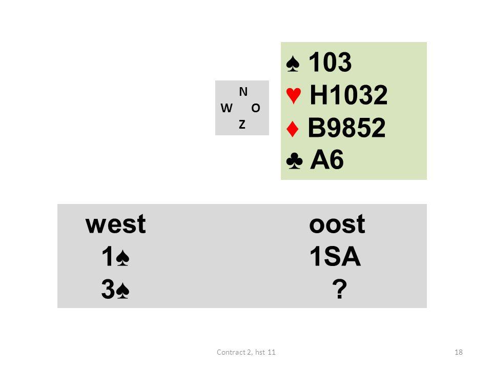 ♠ 103 ♥ H1032 ♦ B9852 ♣ A6 west oost 1♠ 1SA 3♠ N W O Z