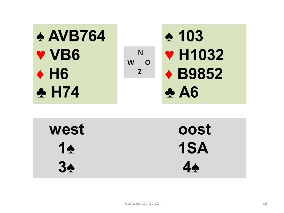 ♠ AVB764 ♥ VB6 ♦ H6 ♣ H74 ♠ 103 ♥ H1032 ♦ B9852 ♣ A6 west oost 1♠ 1SA