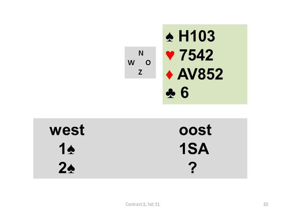 ♠ H103 ♥ 7542 ♦ AV852 ♣ 6 west oost 1♠ 1SA 2♠ N W O Z