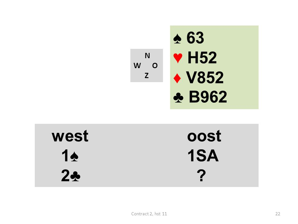 ♠ 63 ♥ H52 ♦ V852 ♣ B962 west oost 1♠ 1SA 2♣ west oost 1♠ 1SA