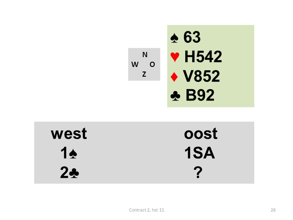 ♠ 63 ♥ H542 ♦ V852 ♣ B92 west oost 1♠ 1SA 2♣ west oost 1♠ 1SA