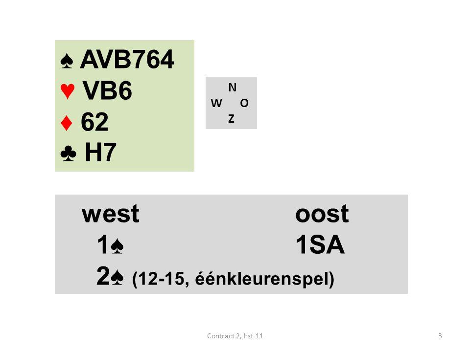 ♠ AVB764 ♥ VB6 ♦ 62 ♣ H7 west oost 1♠ 1SA 2♠ (12-15, éénkleurenspel) N