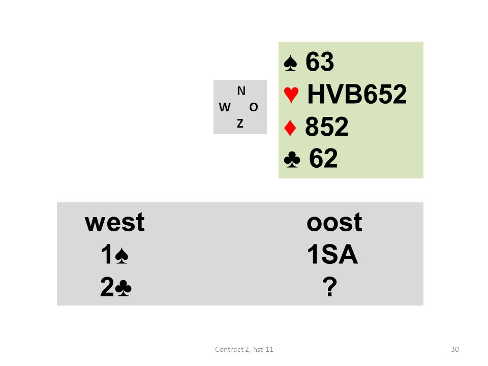 ♠ 63 ♥ HVB652 ♦ 852 ♣ 62 west oost 1♠ 1SA 2♣ west oost 1♠ 1SA