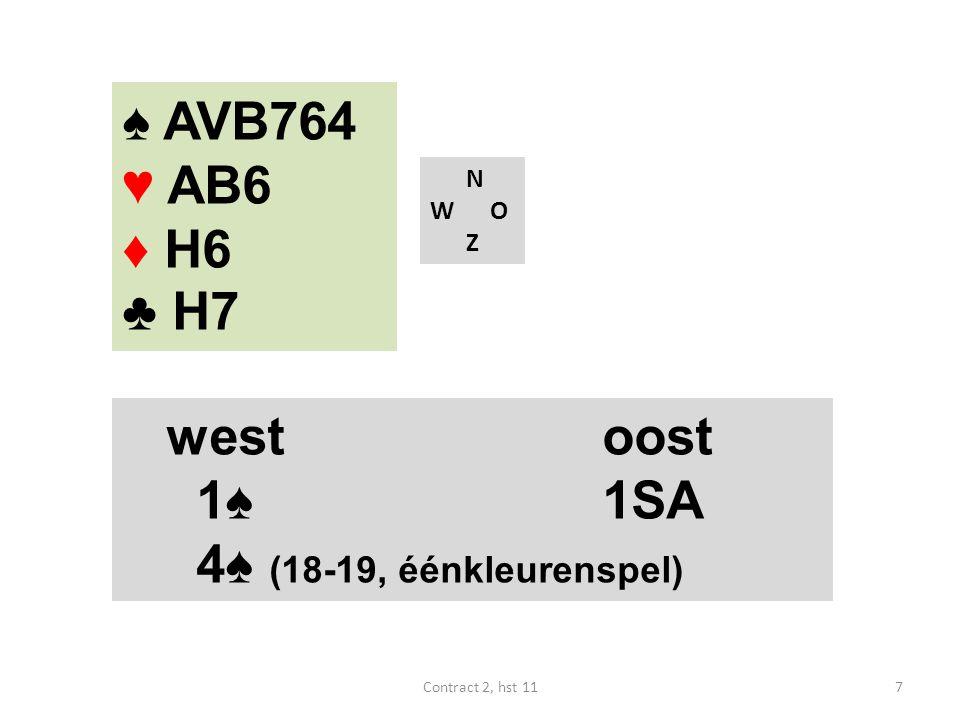 ♠ AVB764 ♥ AB6 ♦ H6 ♣ H7 west oost 1♠ 1SA 4♠ (18-19, éénkleurenspel) N