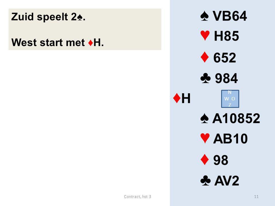 ♦ 652 ♦ 98 ♠ VB64 ♥ H85 ♣ 984 ♦H ♠ A10852 ♥ AB10 ♣ AV2 Zuid speelt 2♠.