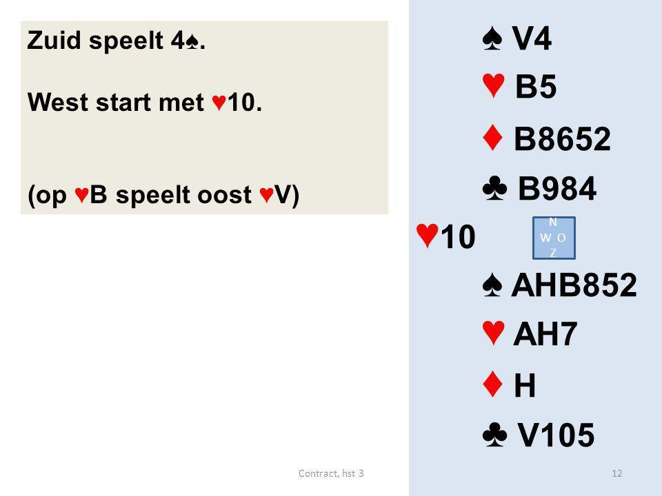 ♦ B8652 ♦ H ♠ V4 ♥ B5 ♣ B984 ♥10 ♠ AHB852 ♥ AH7 ♣ V105 Zuid speelt 4♠.