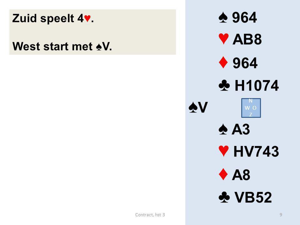 ♦ 964 ♦ A8 ♠ 964 ♥ AB8 ♣ H1074 ♠V ♠ A3 ♥ HV743 ♣ VB52 Zuid speelt 4♥.