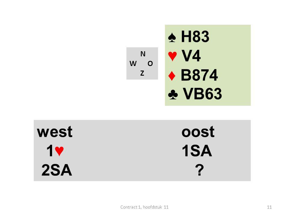 ♠ H83 ♥ V4 ♦ B874 ♣ VB63 west oost 1♥ 1SA 2SA N W O Z