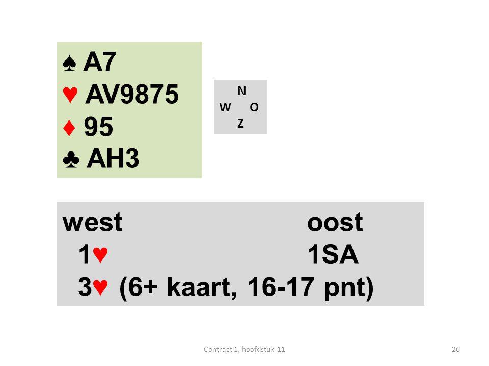 ♠ A7 ♥ AV9875 ♦ 95 ♣ AH3 west oost 1♥ 1SA 3♥ (6+ kaart, 16-17 pnt) N
